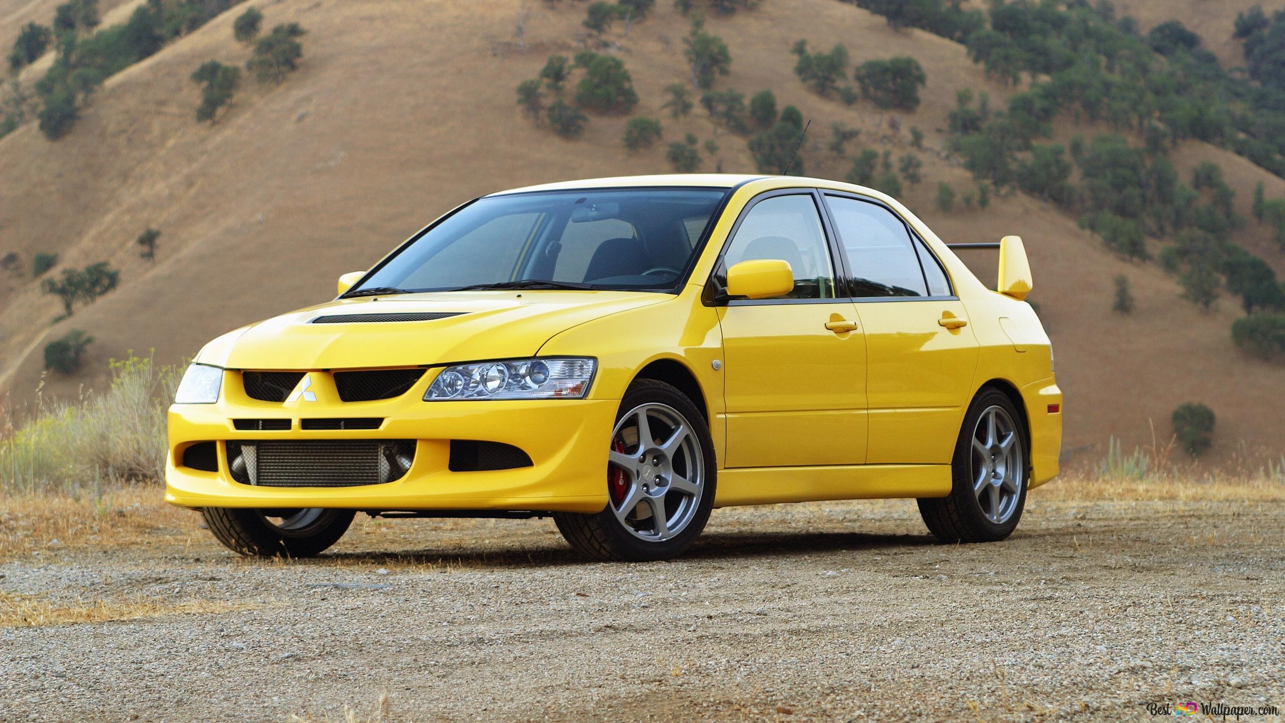 Yellow Mitsubishi Lancer Evolution Sport Car Hd Wallpaper Download
