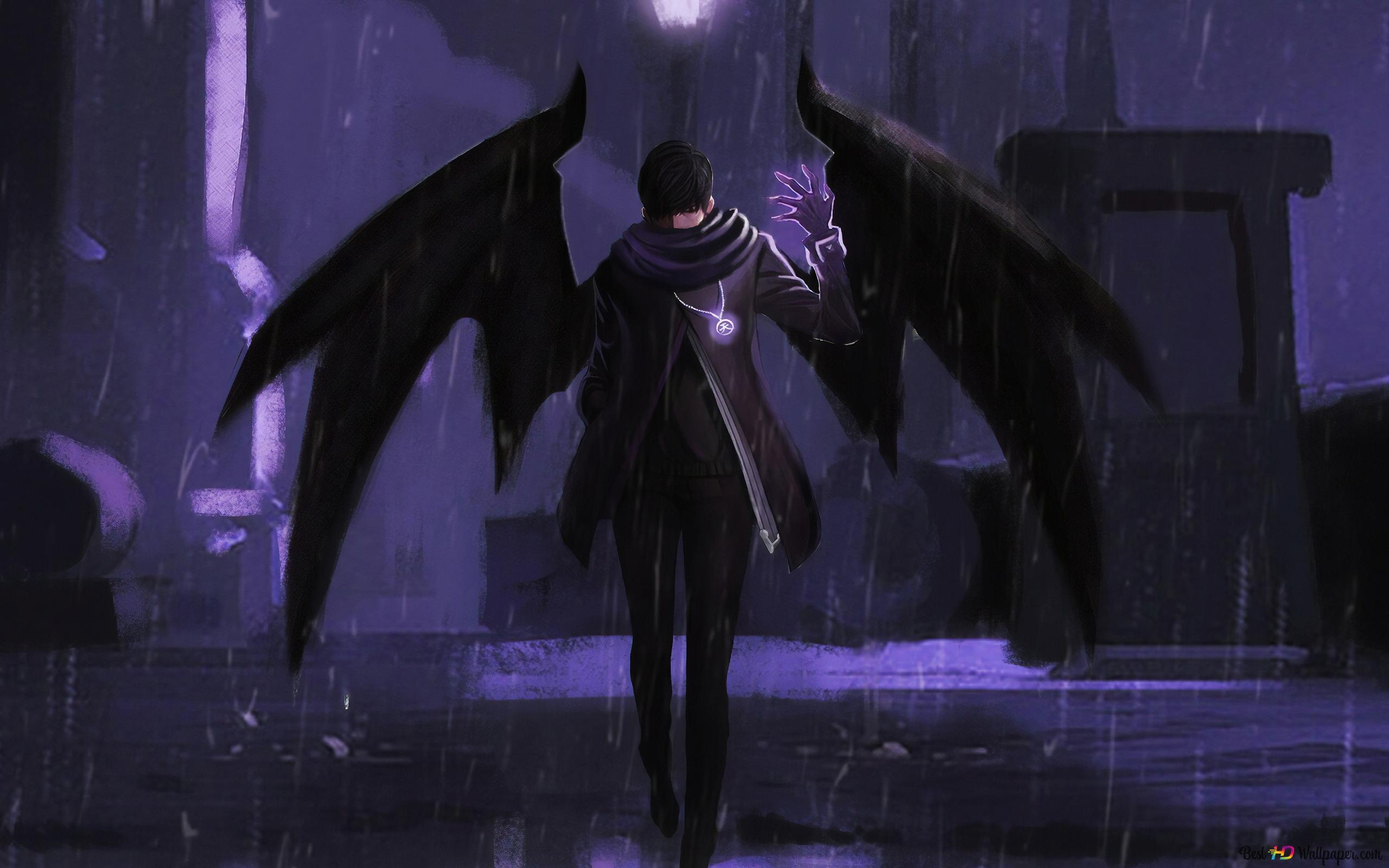 雨の夜の翼の悪魔 Hd壁紙のダウンロード