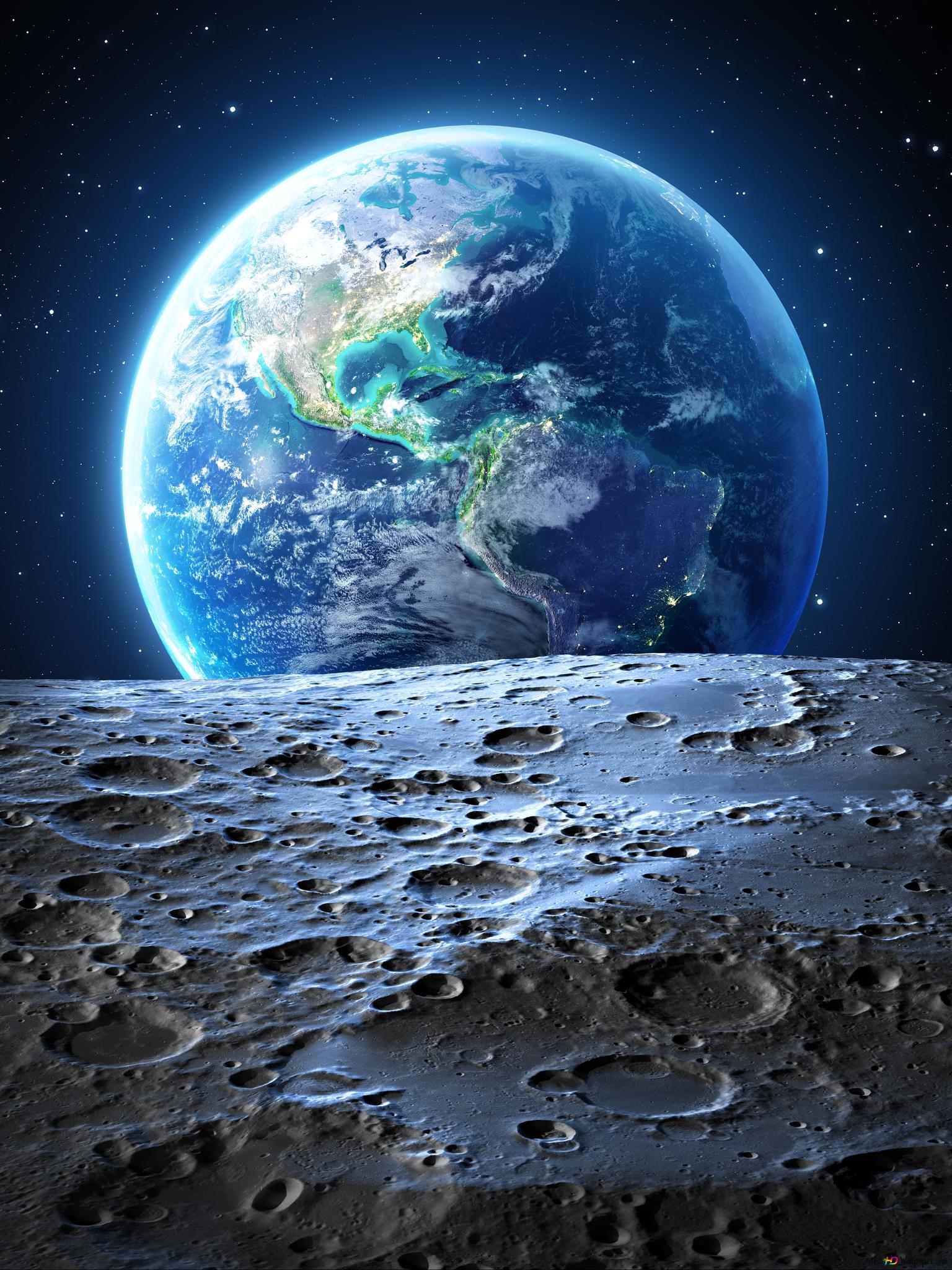 月面から地球ビュー Hd壁紙のダウンロード
