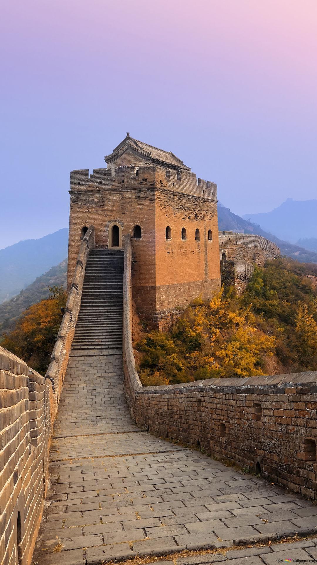 中国の万里の長城での夜の雰囲気 Hd壁紙のダウンロード