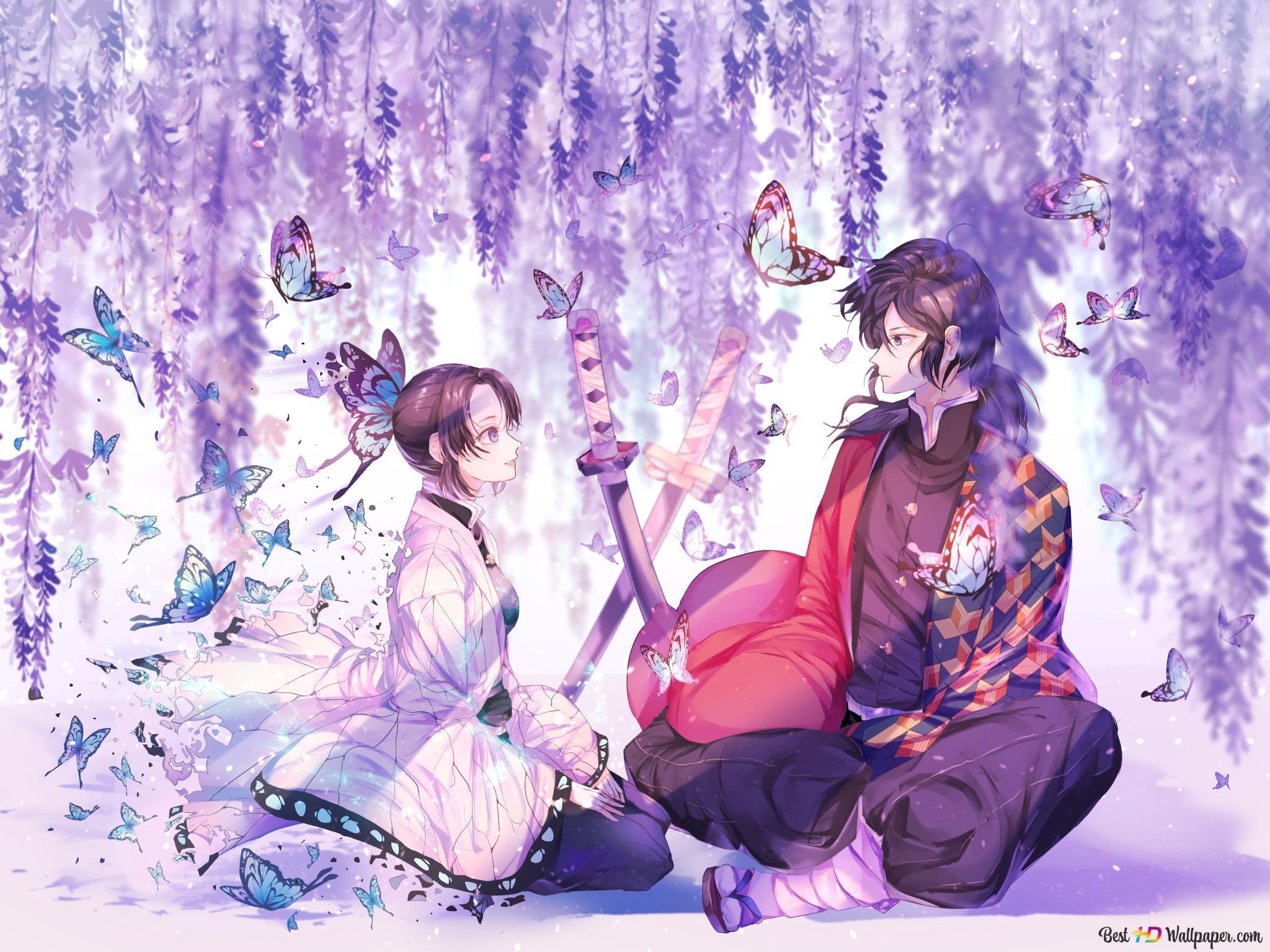 紫色の藤と蝶の背景を持つhas Hiraの忍とgiyu Hd壁紙のダウンロード