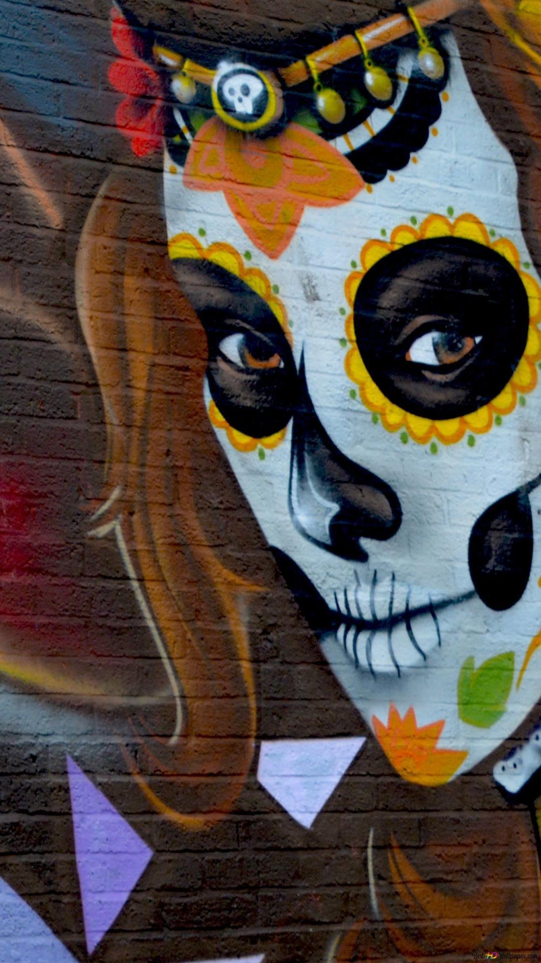Zuckerschadel Graffiti Hd Hintergrundbilder Herunterladen